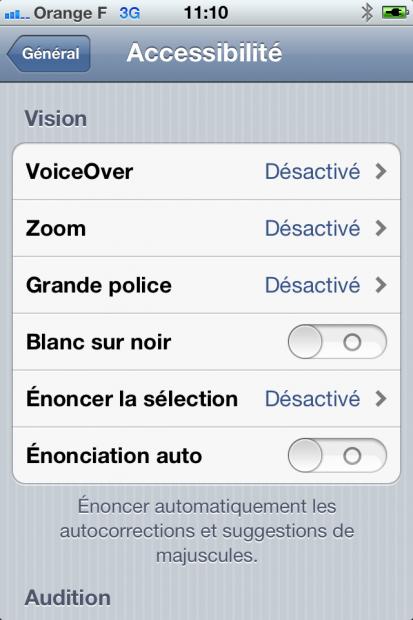 Activer l'accessibilité sur iOS