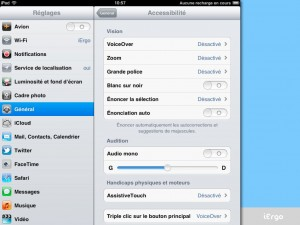Option d'accessibilité sur l'iOs