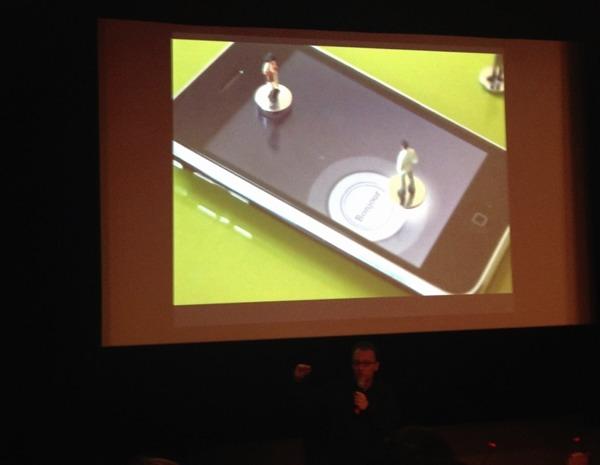 Personnage sur un iPhone