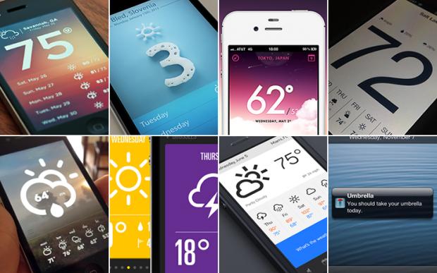 Exemples d'apps météo.