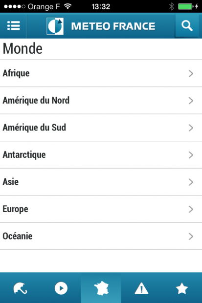 Menu de gauche de l'apps
