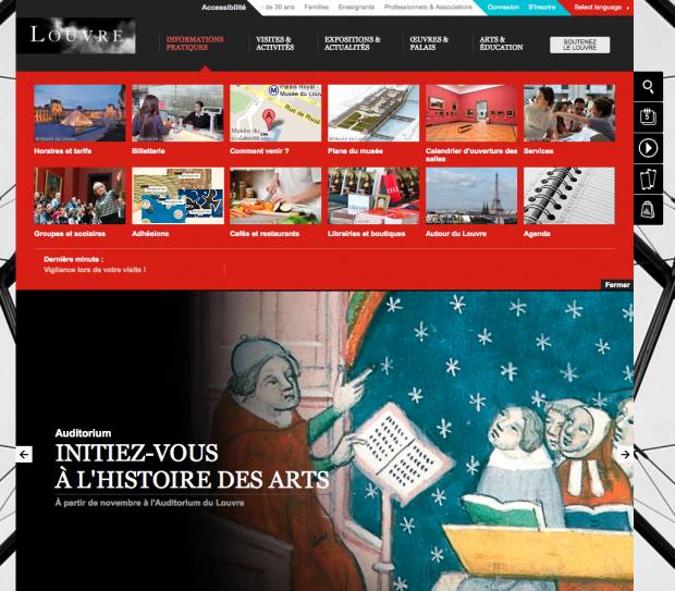 Page d'accueil du site du Louvre