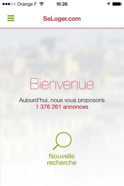 Ecran d'accueil - Seloger.com