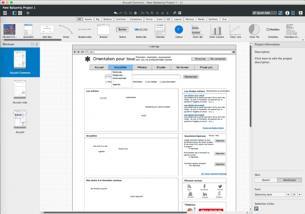 L'interface de Balsamiq V3