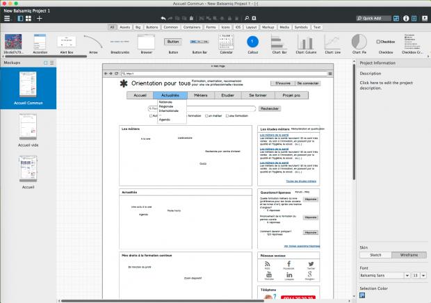L'interface de Balsamiq V3