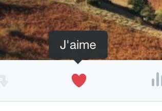 """L'icône """"j'aime"""" sur Twitter"""