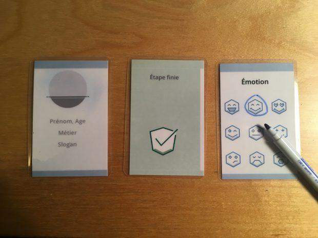 Exemple de cartes plastifiées.